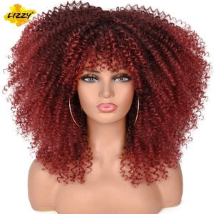 """Lizzy 16"""" Short Hair Afro Kinky Curly Wigs With Bangs For Black Women Synthetic Cosplay Bomb Omber African Glueless Wigs"""