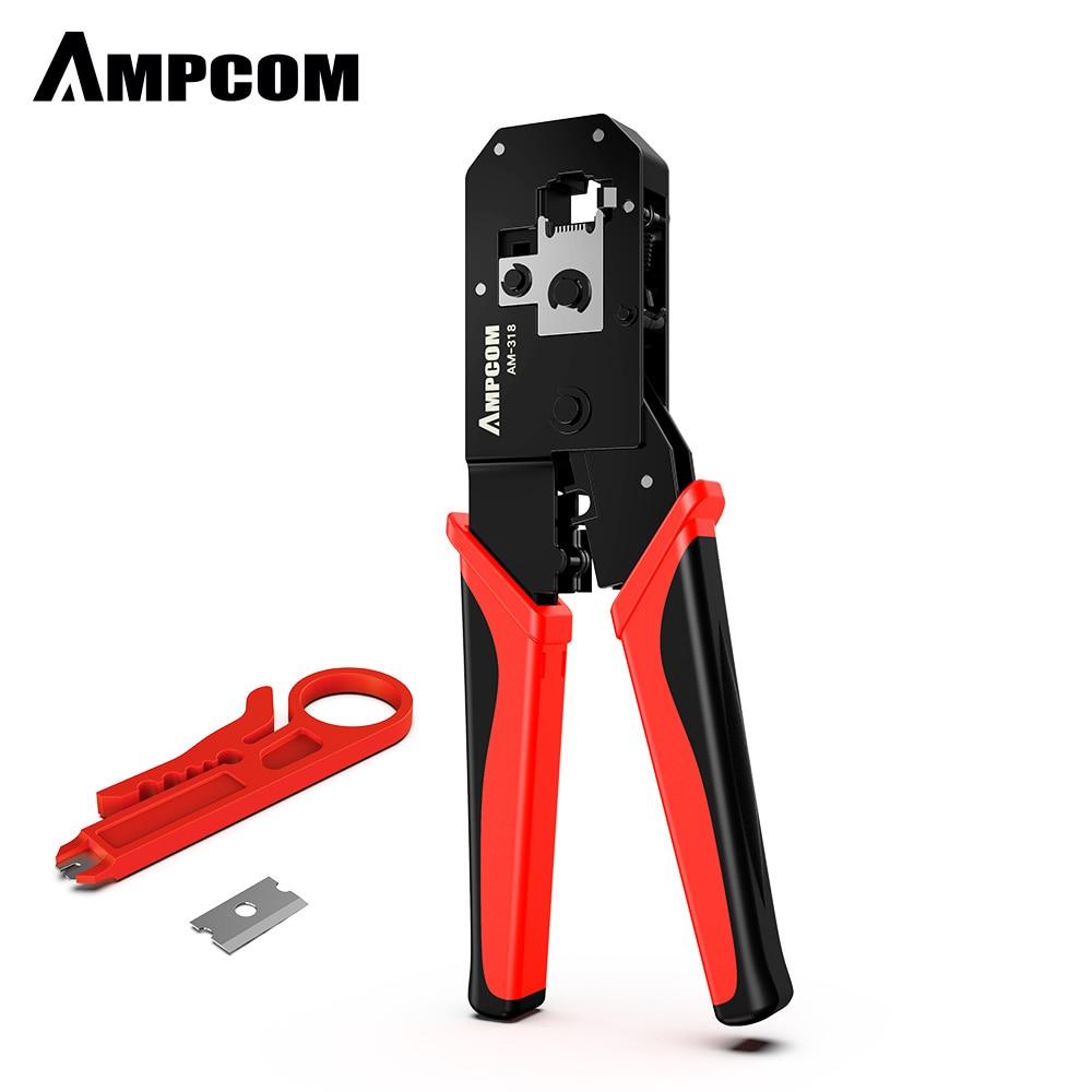 AMPCOM RJ45 Crimping Tool, 8P/6P-RJ11, RJ12 Crimper Cutter Stripper Crimper Cutter Stripper Plier enlarge