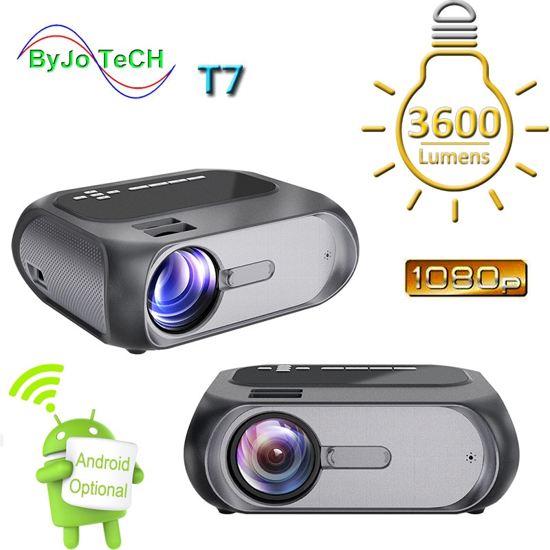Byjotech T7 Full Hd 1280X720 Home Theater Led 1080P Projector 200 Ansi Multimedia En Multi-Screen interactieve Versie Optioneel