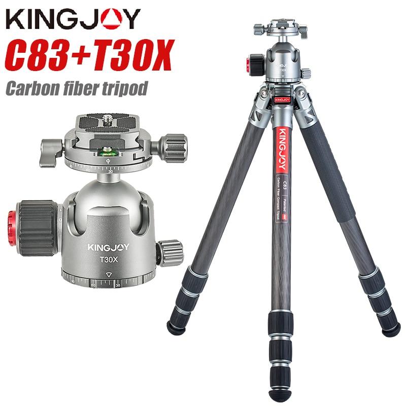 KINGJOY C83 + T30X ألياف الكربون ترايبود كاميرا رقمية Tripode مناسبة للسفر حامل كاميرا عالية الجودة