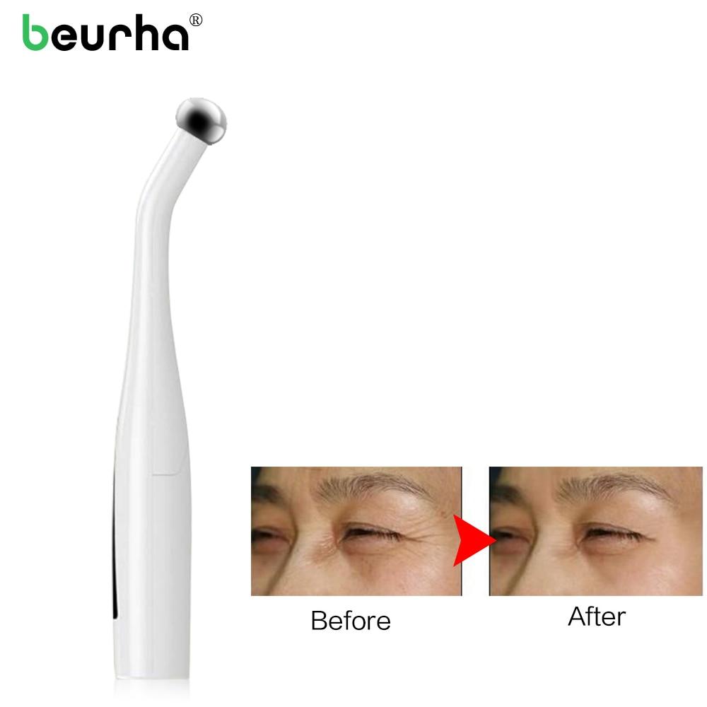 Pluma masajeadora de Ojos de iones eléctrica, removedor de arrugas antienvejecimiento de círculo oscuro, herramienta de cuidado facial con vibración negativa, instrumento de belleza de elevación