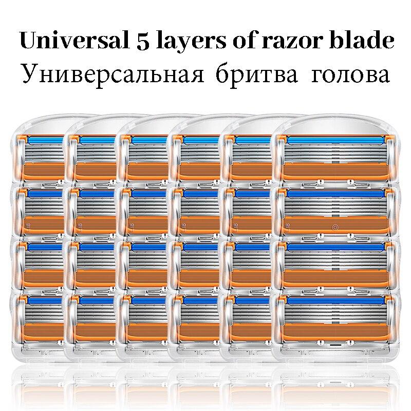 Cabezales de repuesto de acero inoxidable de 5 capas, Compatible con Gillette,...