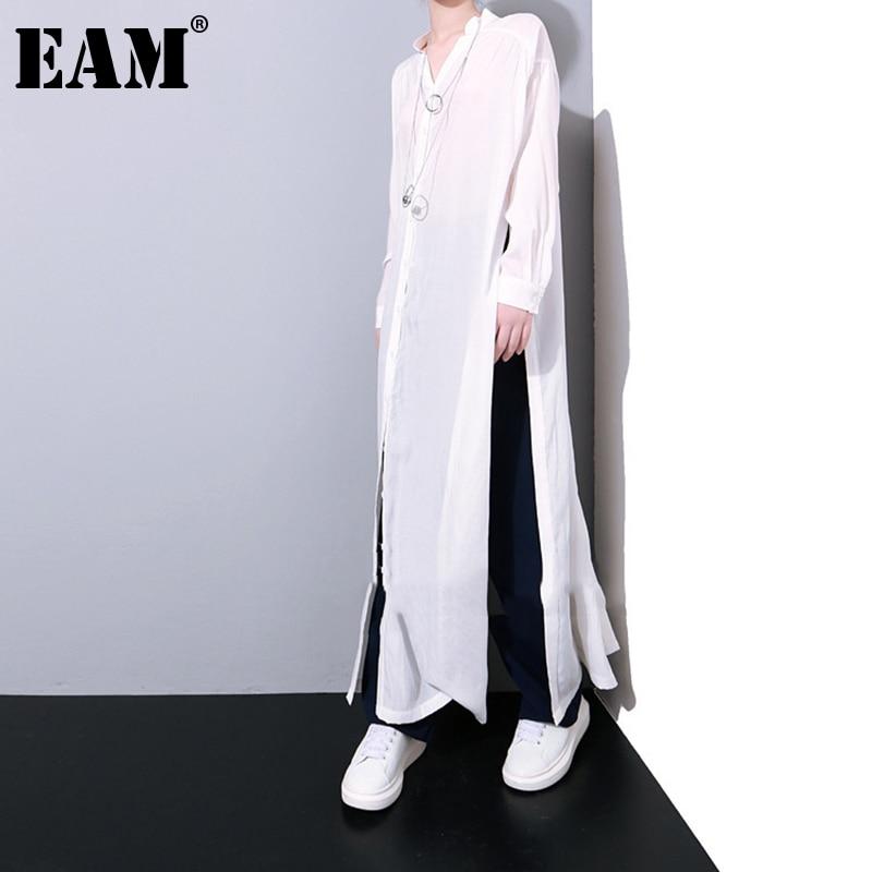 [EAM] Women White Button Bandage Big Size Long Blouse New Stand Collar Long Sleeve Loose Shirt Fashion Spring Autumn 2021 K46501