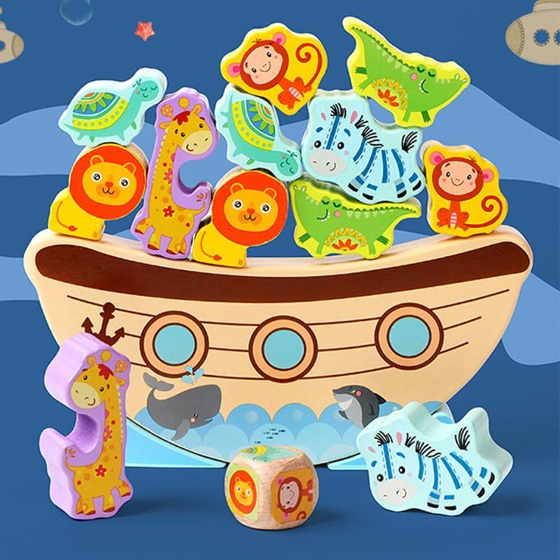 Bloques de pintura de madera Bitable, Base de onda de barco, Animal de dibujos animados, juego de equilibrio, bloques de construcción, juguete rompecabezas para niños