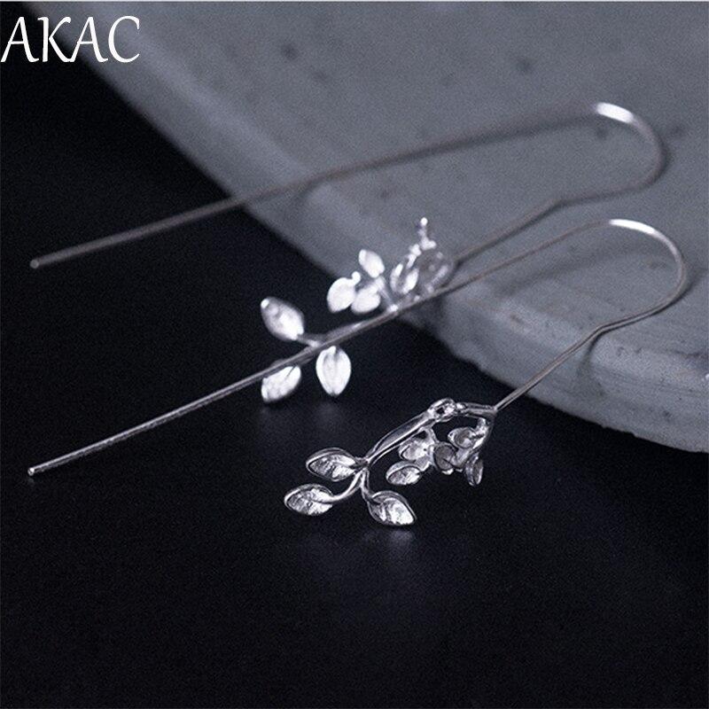 AKAC envío gratis S925 pendientes de flores de plata de ley para mujer 1 par/set aprox10 * 58mm