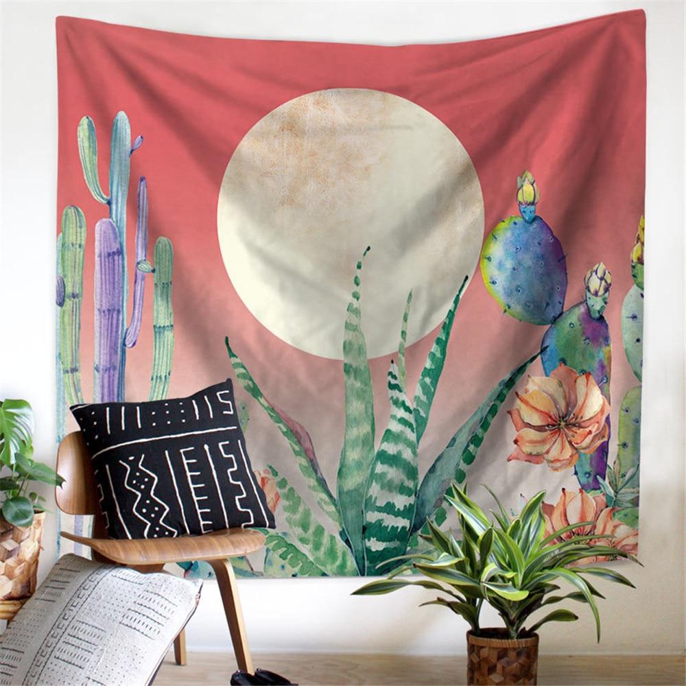 Настенные гобелены с кактусами Мандала богемный гобелен пейзаж обои настенное искусство шаль