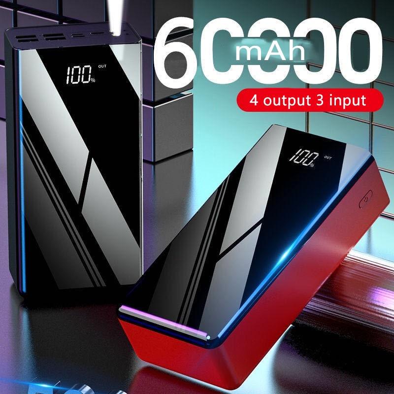 باور بانك 60000 مللي أمبير ، بطارية خارجية ، شحن سريع ، بإضاءة مزدوجة ، لهاتف iPhone Xiaomi mi Pover ، 60000 مللي أمبير