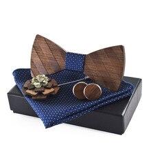 Classique en bois noeud papillon ensemble boutons de manchette broche carré scarfmariage cérémonie costume rayure nœuds papillon réglable hommes cadeaux taille unique
