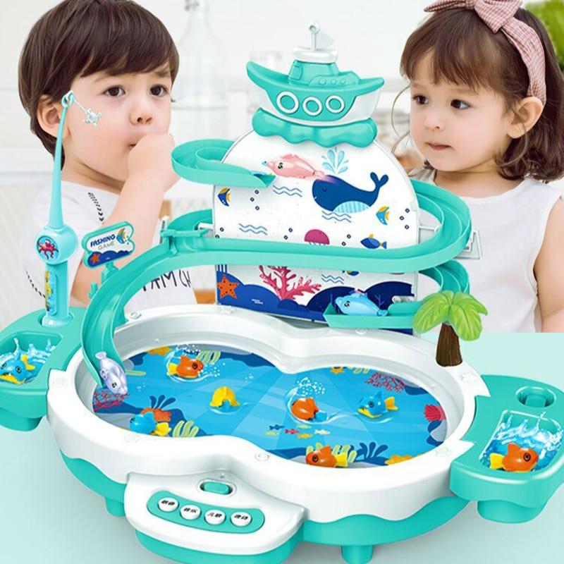 De moda educativos niño modelo jugar juegos al aire libre juguetes regalos de pesca juguetes eléctricos del ciclo del agua con iluminación de la música