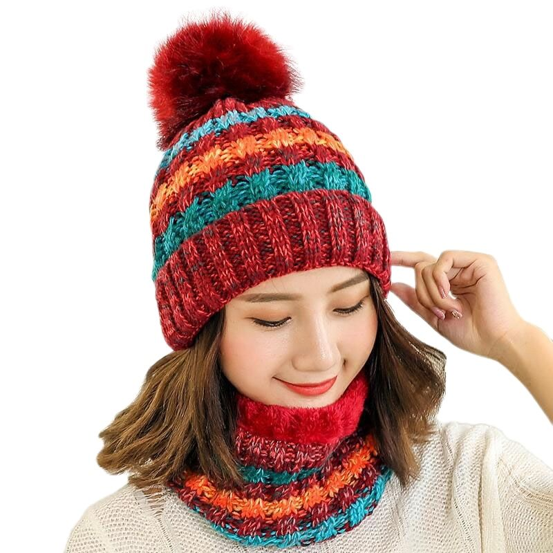 New Warm Winter Hat For Women Female Fur Lined Soft Beanie Neck Warmer Scarf Thick Striped Color Knitted Hat Fashion Pompom Hat