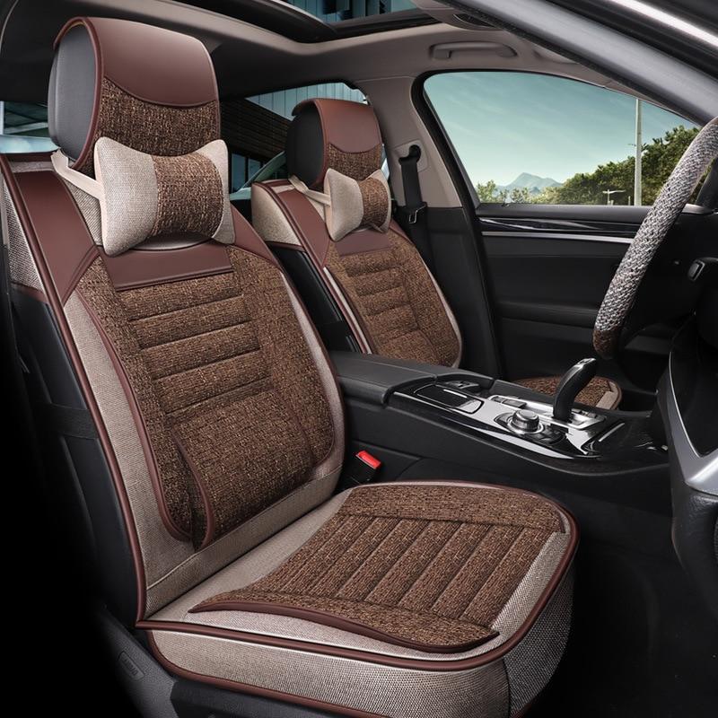 Funda Universal de lino para asiento de coche, alfombrilla de asiento envolvente de alta calidad resistente al desgaste para Volkswagen Passat B5 Golf Toyota Corolla