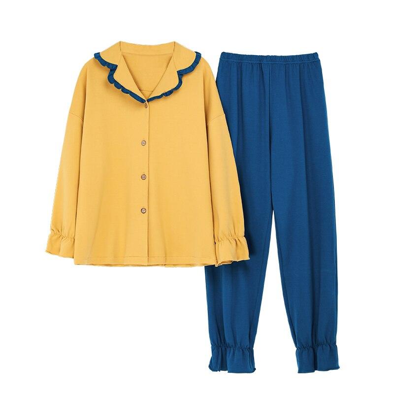 Pijama de algodón de seda para mujer, Conjunto de pijama de manga larga con botones hacia abajo, ropa de dormir, pijama de Pj Lounge, pijama, pijama, pizama damska