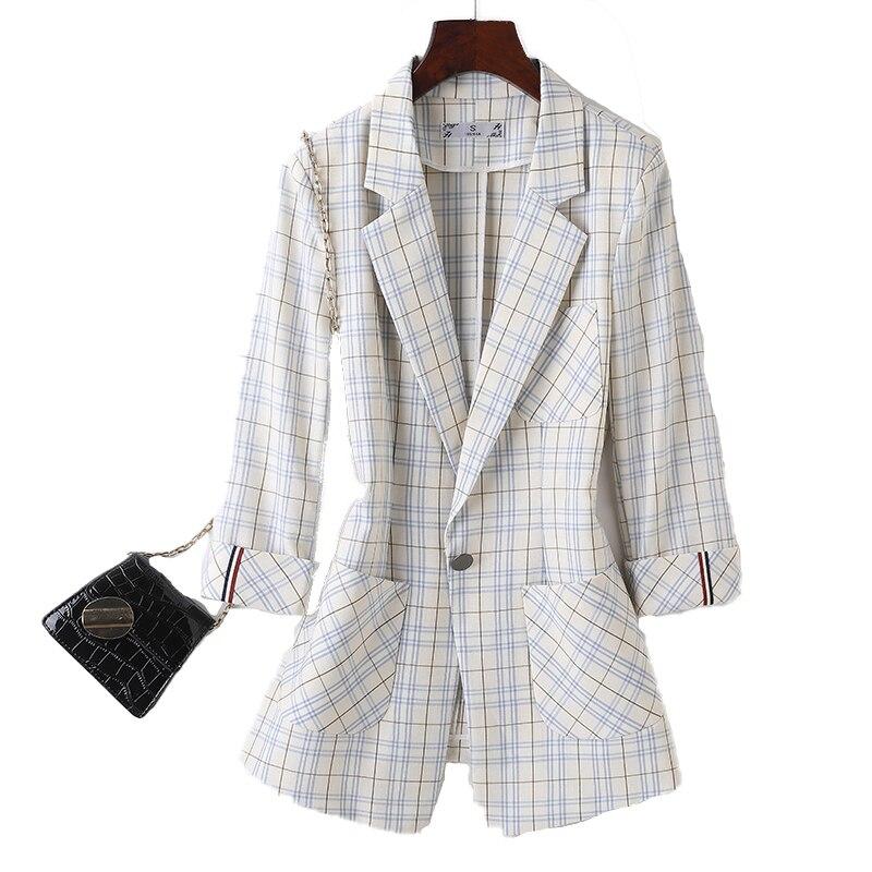 Plaid Blazer Women's Spring/Summer 2021 New Korean Fashion Temperament Slim Fit Slimming Thin Small