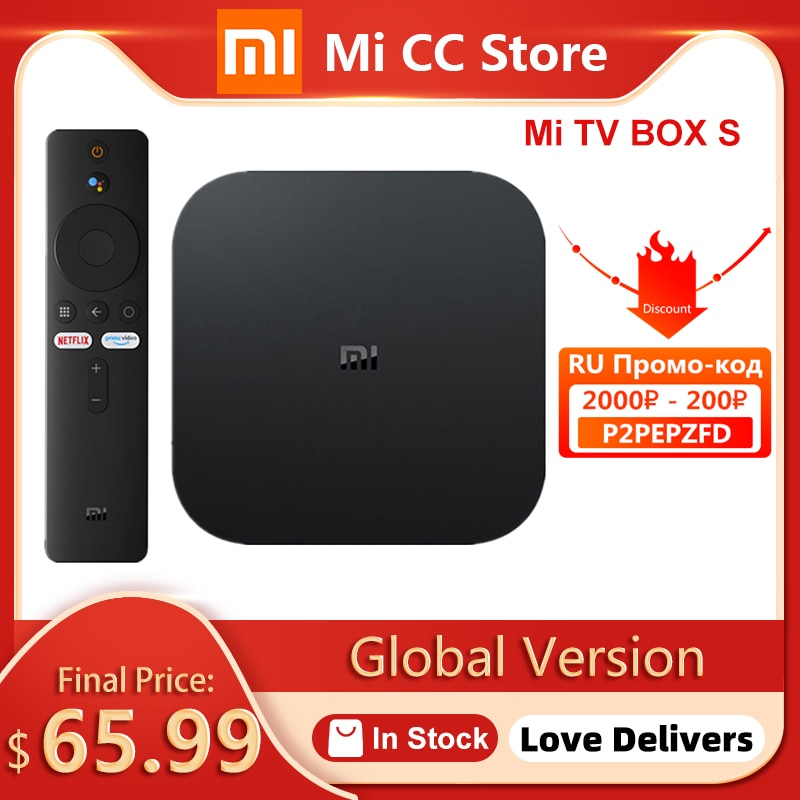 Global Version Xiaomi Mi TV Box S 4K Ultra HD Android TV 9.0 HDR 2GB 8GB WiFi Google Cast Netflix Smart Mi Box S Media Player