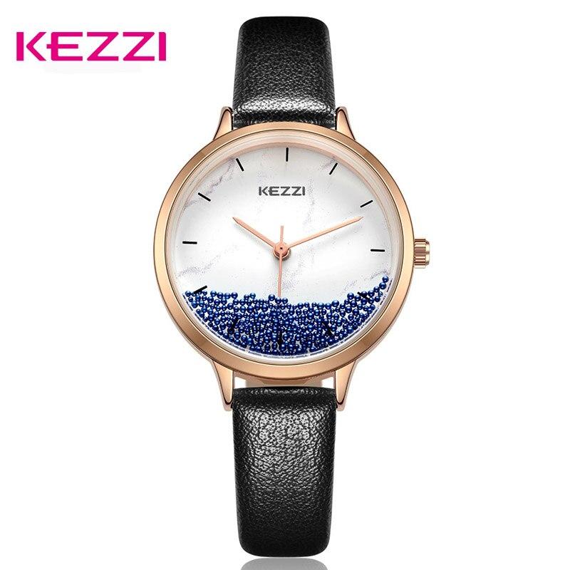 Reloj de pulsera KEZZI para mujer, reloj de cuarzo creativo, reloj de bola de papel de lija a la moda, Relojes de Cuero informales impermeables, reloj femenino