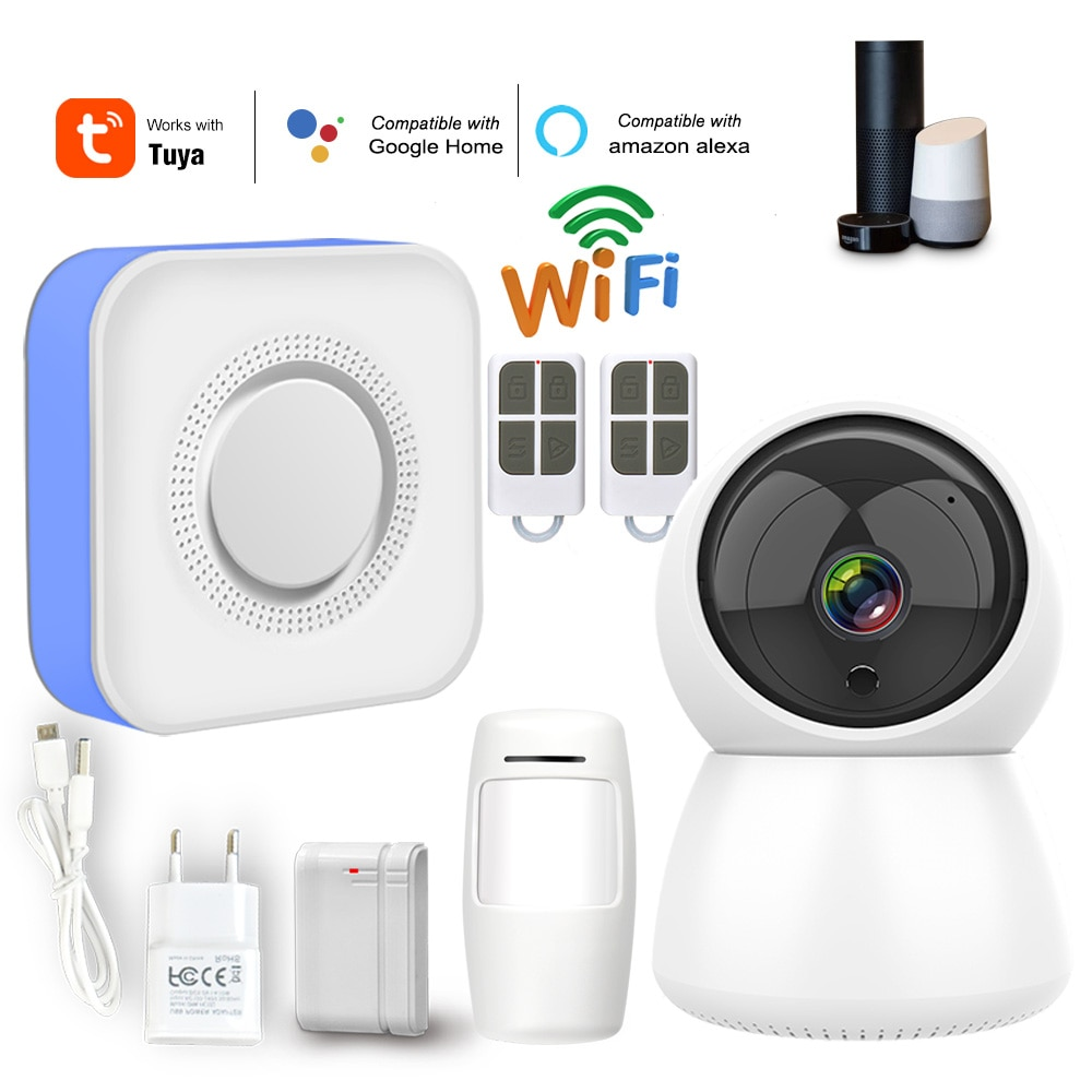 Wifi casa sistema de alarme do assaltante 433 mhz sem fio sirene estroboscópica alarme compatível com alexa google casa ifttt tuyasmart vida inteligente