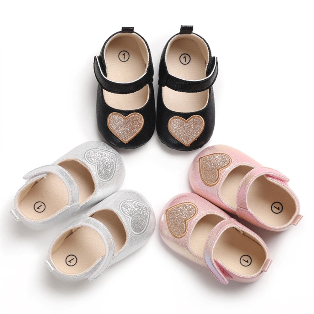0-18M Cute Baby Girls Shoes Heart Pattern Soft Sole Casual Single Shoes Princess First Walking Shoes