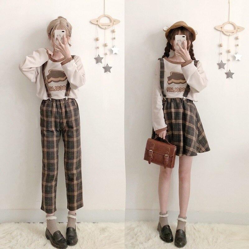 Jesienno-zimowa japońska słodka lolita trzyczęściowy garnitur vintage o-neck drukowanie lolita top + kombinezony kratowe + spódnica z paskiem kawaii girl