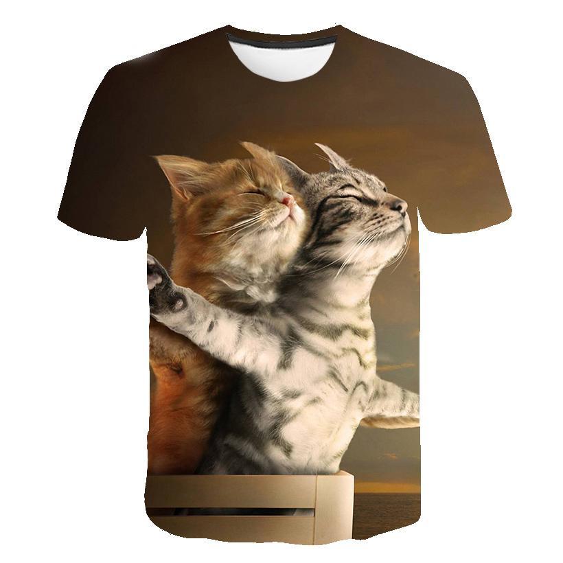 2018 summer fashion 3d print men s short sleeve t shirt 2019 New Cool T-shirt Men/Women 3d T shirt Print two cat Short Sleeve Summer Tops Tees funny T shirt Male S-6XL