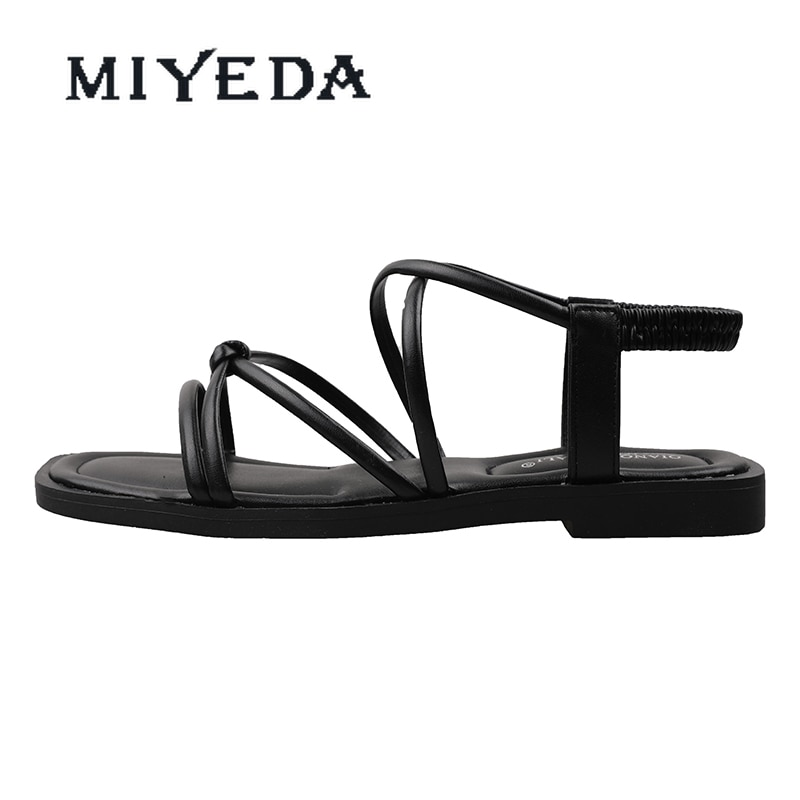 MIYEDA Women Sandals Summer 2021 Female Shoes Woman Crystal Casual Office Lady Flats Handmade Cool Black Women's Slippers