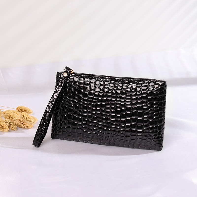 Cosmetic Bag Leather Tool Bag Small Women's Wallet Crocodile Grain Clutch Hand Bag Coin Purse Mini Wallet Cosmetic Bag