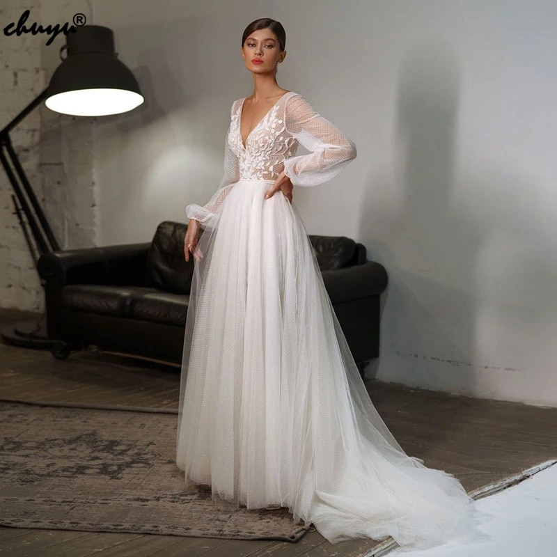 Review ChuYu Charming Long Soft Tulle  A-line Appliqued Weeding Dress 2021 See Through V Neck Backless Puff Sleeves Boho Lace 2021