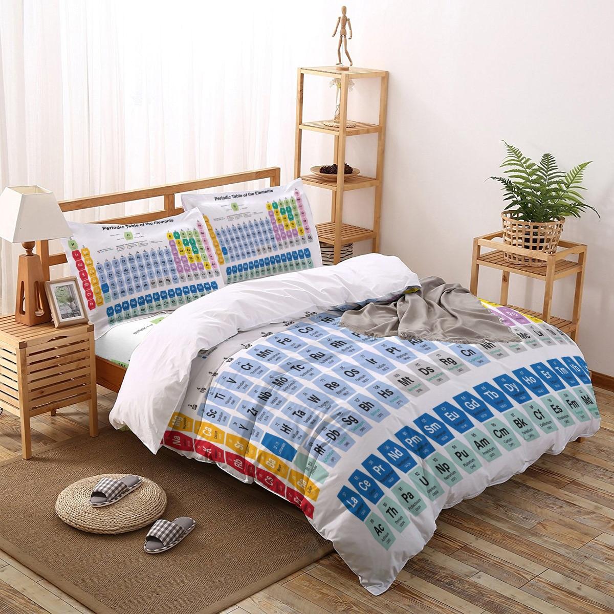 Juego de fundas de edredón de Mesa Periódica 2/3/18 Uds juego de cama sábana de cama funda para almohada Set