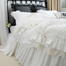 Ensemble de literie brodé de luxe   Housse de couette à volants en dentelle romantique, drap de lit en textile, housse de couette élégante