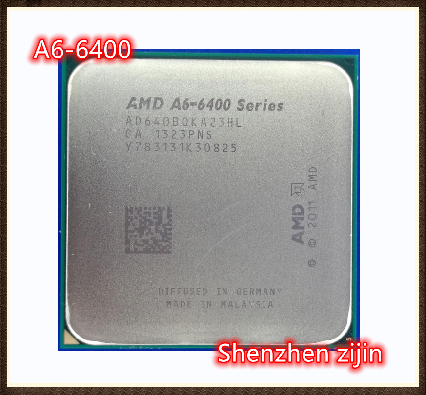 AMD A6-Series A6-6400 A6 6400 A6 6400B 3.9G 65W ثنائي النواة معالج وحدة المعالجة المركزية AD640BOKA23HL المقبس FM2