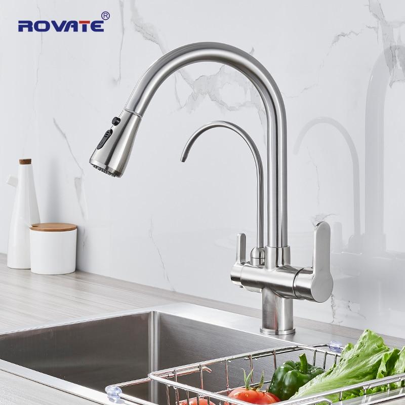 ROVATE مرشح صنبور المطبخ سحب أسفل مع مياه الشرب الحنفية ، عالية قوس تصفية المياه تنقية 3-طريقة بالوعة الحنفية خلاط