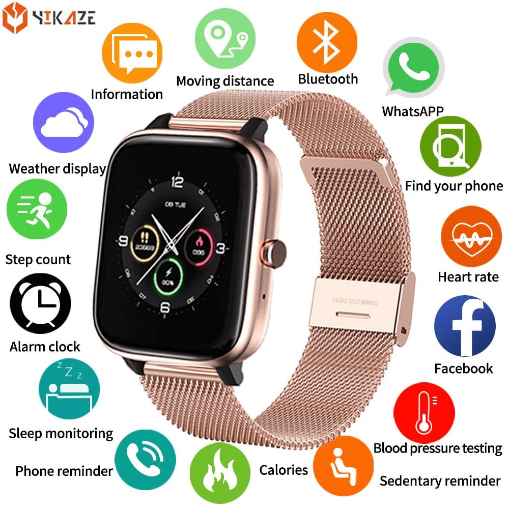 2021 ساعة ذكية الرجال النساء مقاوم للماء معدل ضربات القلب مشغل موسيقى عداد الخطى بلوتوث المكالمات Smartwatch ل شاومي هواوي IOS amazfit