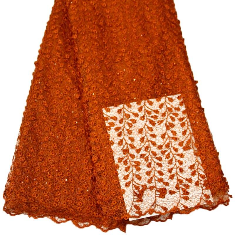 Gran oferta 2020 vestido de mujer con bordado de color naranja quemada estilo aoebi africano Material de vestido para ropa de moda