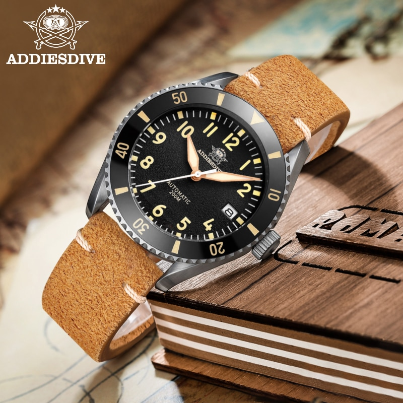 AddiesDive luxury Pilot men's watch sapphire crystal NH35  automatic watches super luminous Ceramic