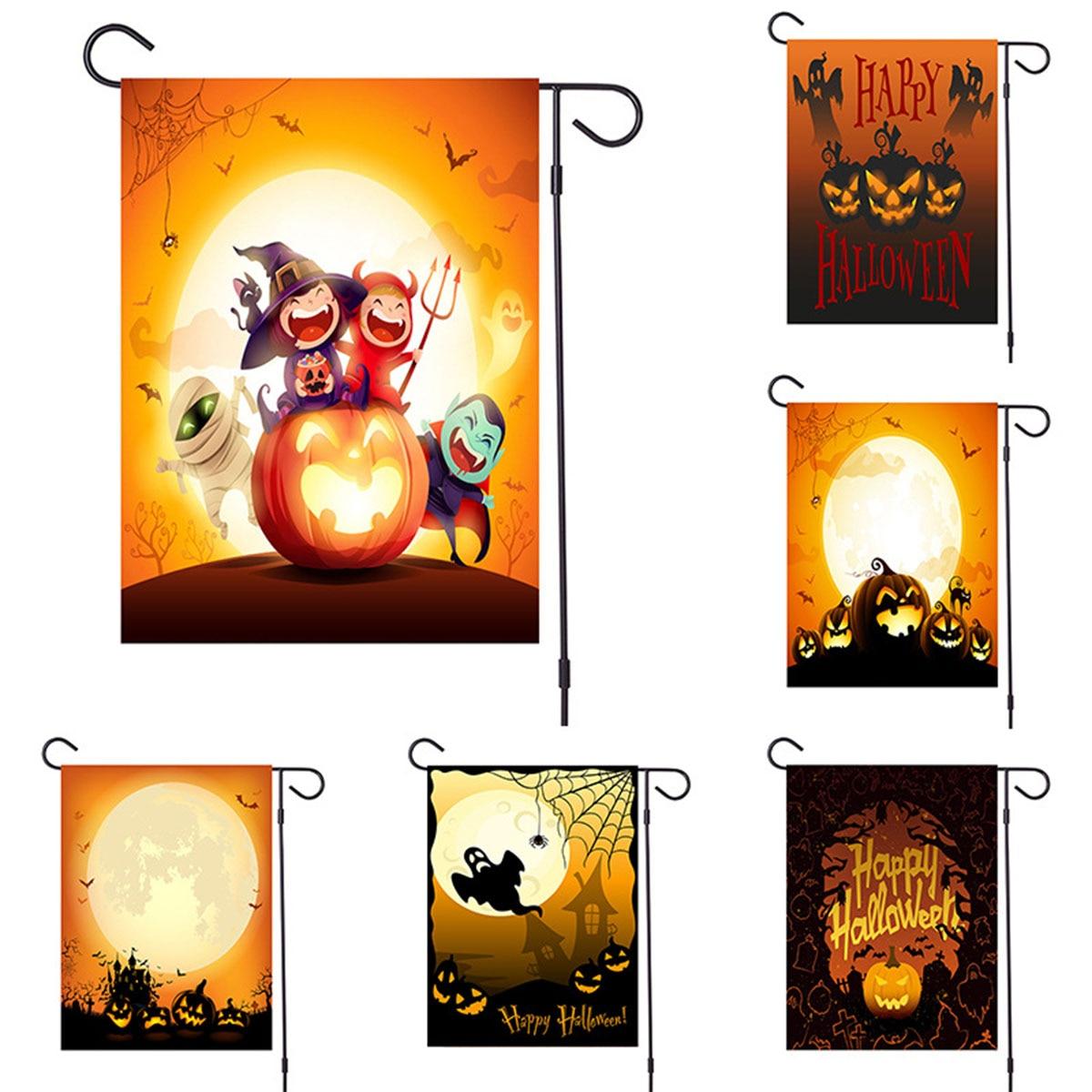 Calabaza Halloween jardín bandera impermeable doble cara arpillera Banner patrón decoración al aire libre césped decoración del hogar