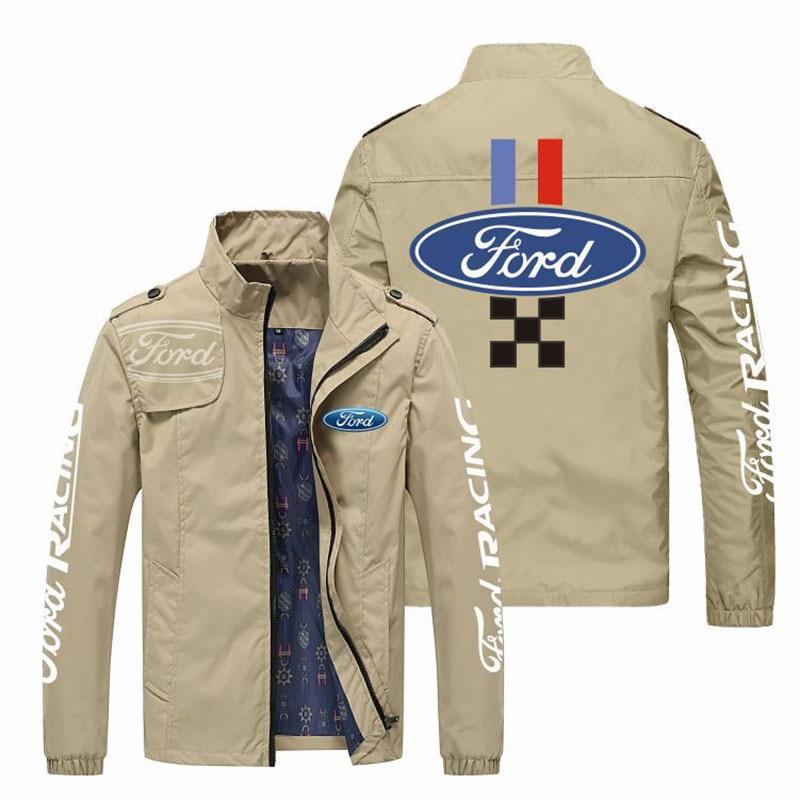 New style stand-up collar fashion car LOGO customized men's breathable polyester jacket, casual Harajuku street men's jacket jac