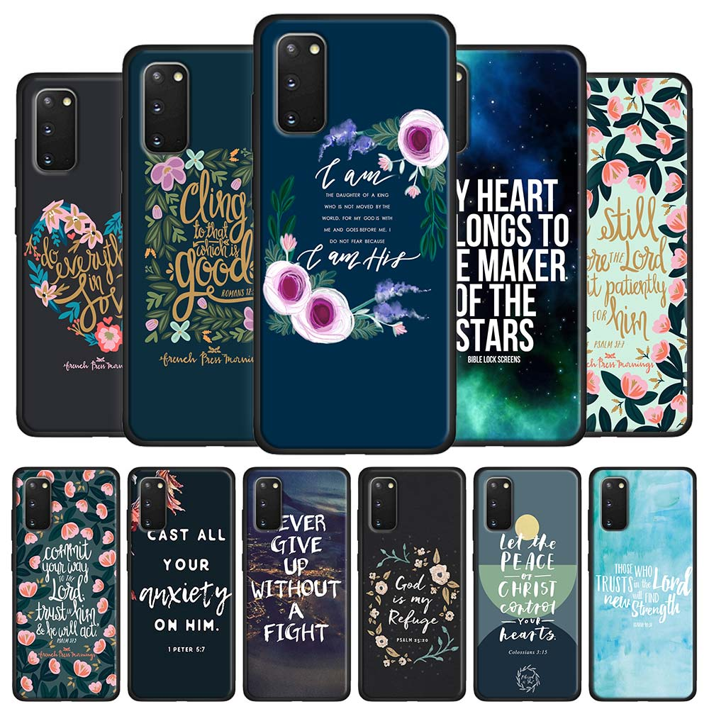 Bible verse Philippians Jesus Christ Christian Case Coque for Samsung Galaxy S10 S20 Ultra 5G S8 S9 S10 S20 Plus Note 8 9 10 Plu