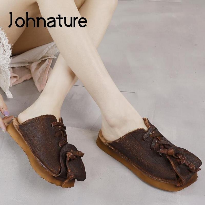 يوناتير-شبشب من الجلد الأصلي للنساء ، أحذية صيفية جديدة 2021 ، مسطح ، مع زحليقة ، ملابس خارجية ، شبشب نسائي يدوي الصنع