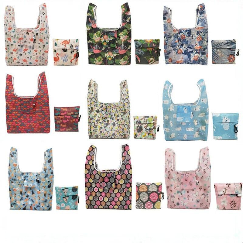Eco Tote bolsas plegables de la compra de la flor de las mujeres bolsa de la compra reutilizable plegable Shopper bolsa de almacenamiento de la fruta de la comida