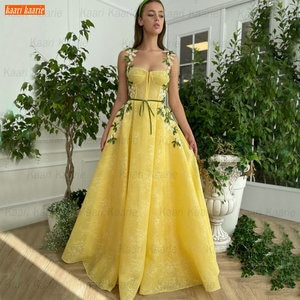 Yellow Lace Prom Dresses A Line Appliqued Vestido De Fiesta De Boda 2021 Party Gowns Custom Made Платье Для Свадебной Вечеринки