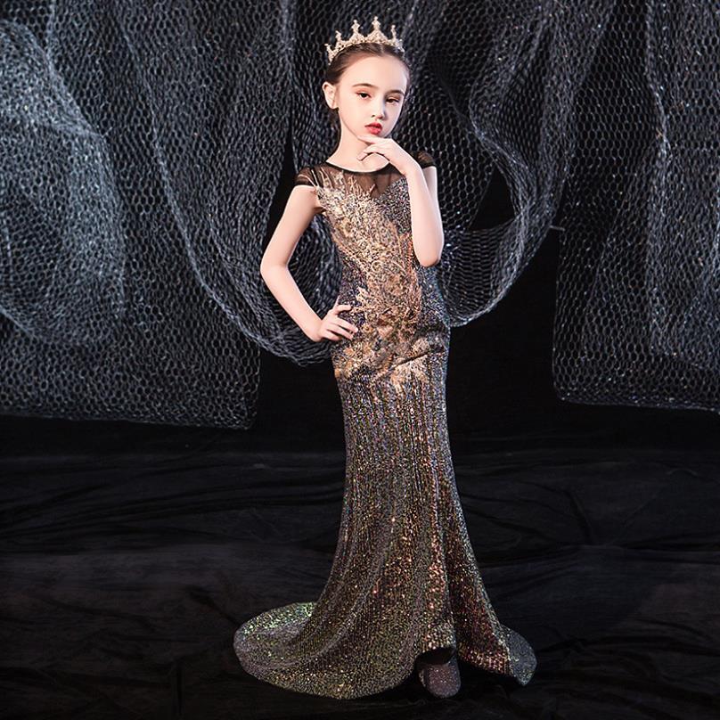 Robe de soirée à paillettes trompette haut de gamme   Tenue de soirée princesse Catwalk pour filles, vêtements pour enfants, vêtements de fête danniversaire, Y2700