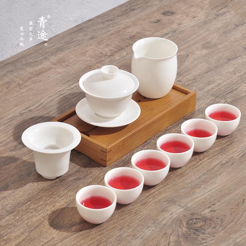 إبريق شاي الكونغ فو الصيني الخزفي ، فنجان قهوة ، هدية ، طقم شاي محمول للسفر ، مناسب جدًا للاستخدام في المكتب أو غرفة المعيشة.