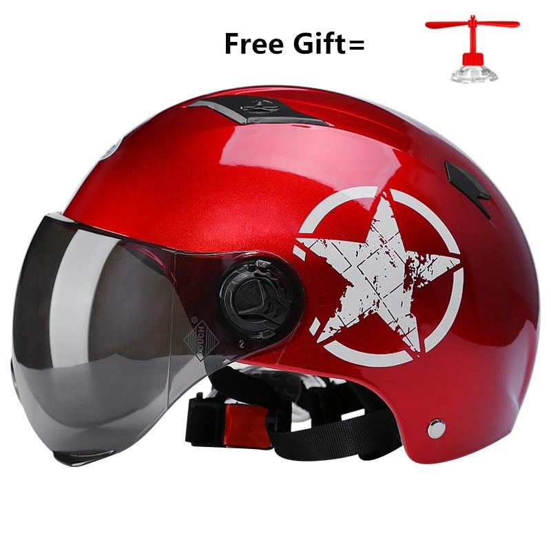 2019 NEW Motorcycle Helmet Electric Car Helmet Safety Supplies Sunscreen Lens Helmet Unisex Summer Helmet gloss black enlarge