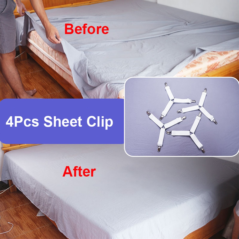 4 teile/satz Bett Blatt Clip Bett Blatt Gürtel Verschluss Matratze Elastische Nicht-slip Clip Decke Greifer Home Textilien Organisieren gadgets