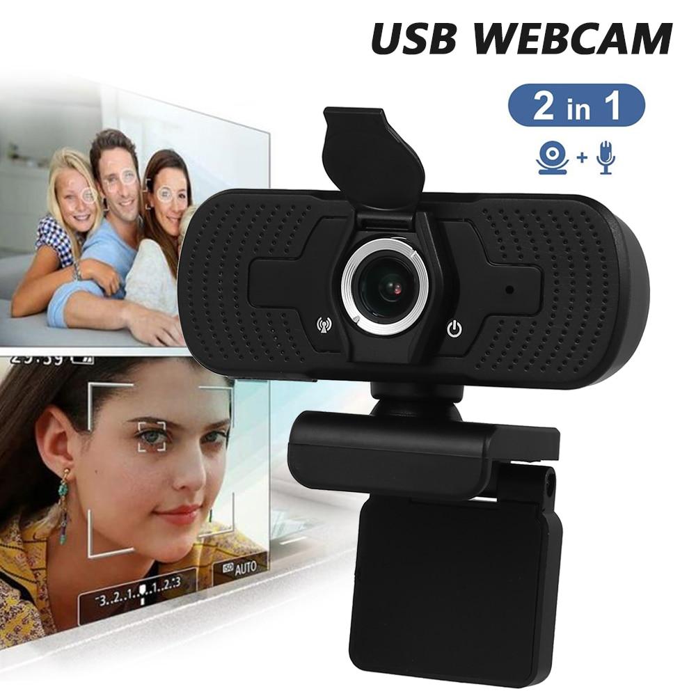 Cámara USB HD 1080P para ordenador, con cubierta para Webcast antipolvo Webcam,...
