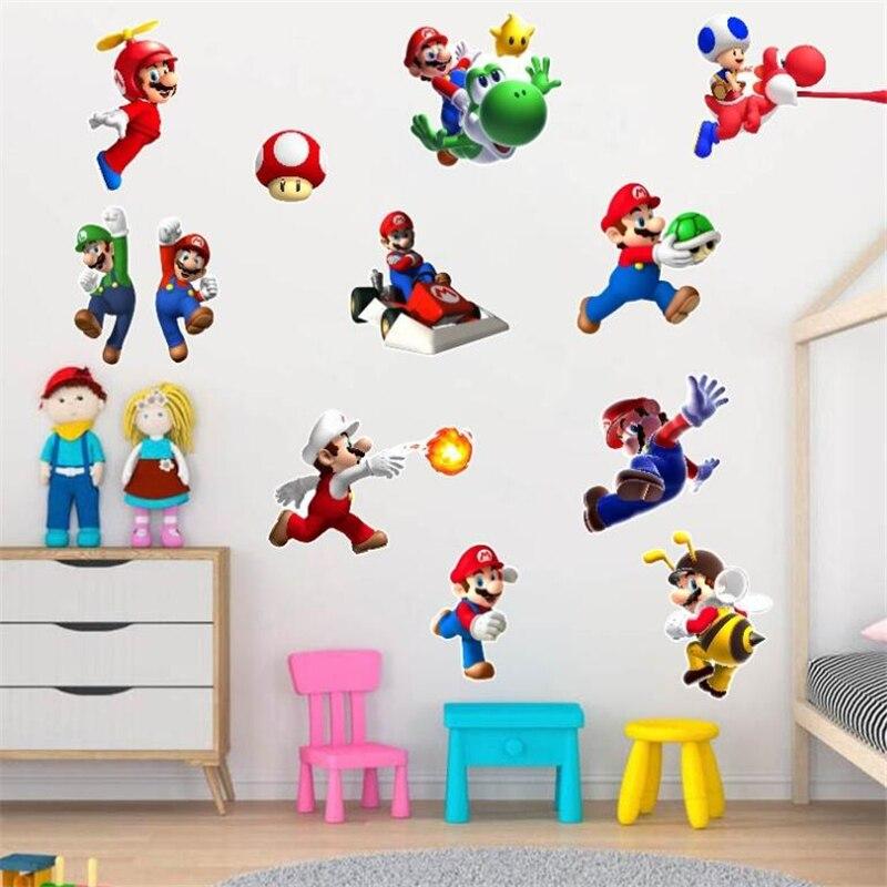 3D kreskówka Mario Kart z gry na ścianę naklejki do pokoju dziecięcego, prezent dla chłopca, dekoracja ścienna do domu plakat animowany