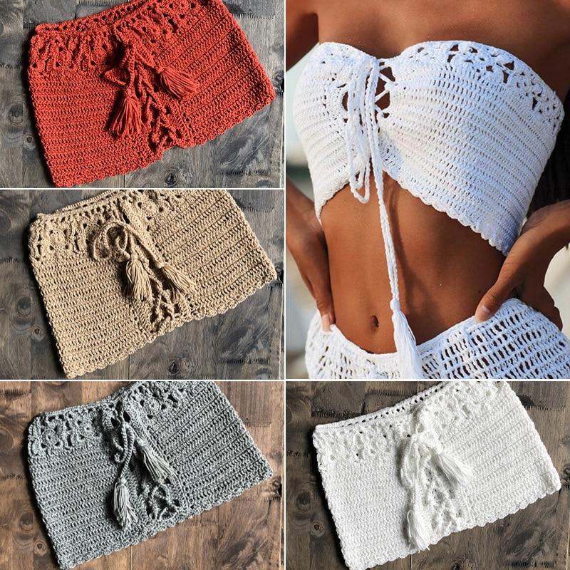 CROCHET BIKINI Sexy Women Knit Bandeau Bikini Top Solid Lace Up Swimwear Swimsuit Handmade Crochet Biquinis Feminino