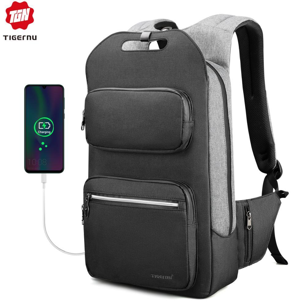 Tigernu Брендовое качество модный школьный рюкзак для мужчин 15,6 дюймов студенческий колледж мужской рюкзак с USB зарядка Мужской рюкзак Анти во...