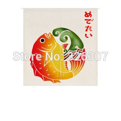 Taiwan Japão Estilo Chinês Sorte Carpa Pano Cortina Casa Ato Portiere Enforcamentos 85x90cm 85x120cm Porta Meia