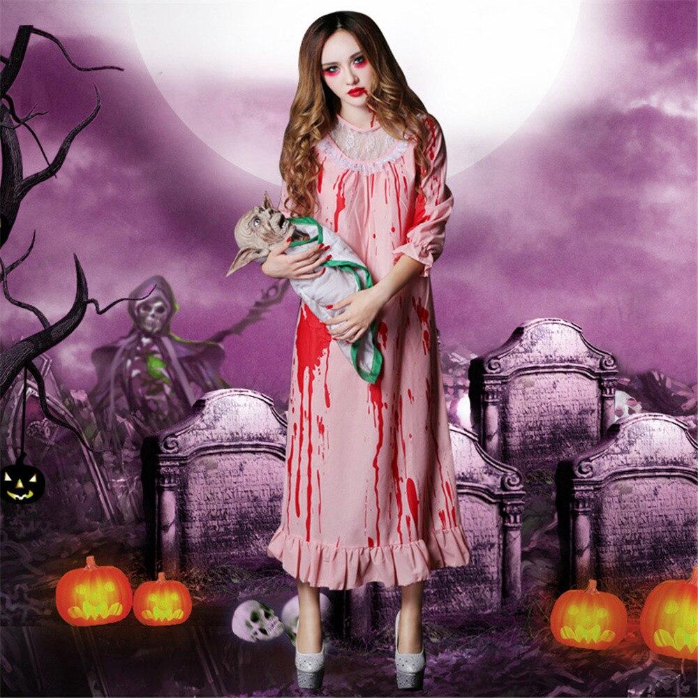 Halloween costume cosplay horror bloody zombie nurse bloodstained nightgown sleeping beauty