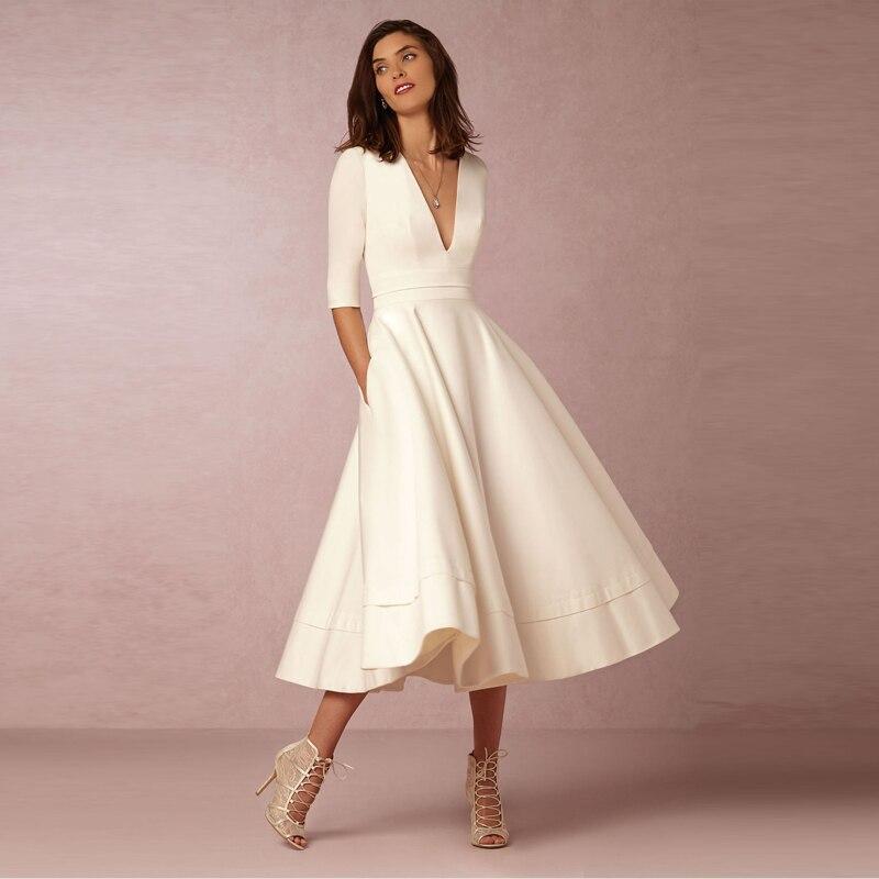 فستان أنيق بياقة على شكل حرف V أبيض ماكسي نصف كم بسيط مثير للنادي الليلي طويل بلون واحد للنساء فستان وردي كحلي B209